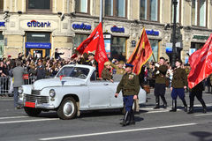 Victory parade in St.Petersburg. St. Petersburg, Russia - May 9, 2012: Veterans of the Second World War on Victory parade Royalty Free Stock Photography