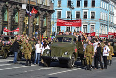 Victory parade in St.Petersburg. St. Petersburg, Russia - May 9, 2012: Veterans of the Second World War on Victory parade Royalty Free Stock Image