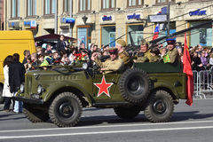 Victory parade in St.Petersburg. St. Petersburg, Russia - May 9, 2012: Veterans of the Second World War on Victory parade Royalty Free Stock Images