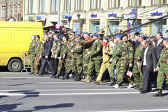Victory parade in St.Petersburg. St. Petersburg, Russia - May 9, 2012: Veterans of the Second World War on Victory parade Stock Photos
