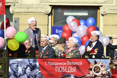 Victory parade in St.Petersburg. St. Petersburg, Russia - May 9, 2012: Veterans of the Second World War on Victory parade Royalty Free Stock Photo