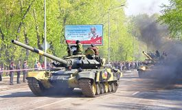 Victory parade 2012. YEKATERINBURG, RUSSIA - MAY 9: Main battle tank T-90S Vladimir exhibited at the annual Victory day Parade on May 9, 2012 in Yekaterinburg Royalty Free Stock Images