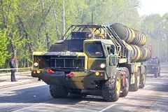 Victory parade 2012. YEKATERINBURG, RUSSIA - MAY 9: Mobile surface-to-air missile system S-300 exhibited at the annual Victory day Parade on May 9, 2012 in Stock Image