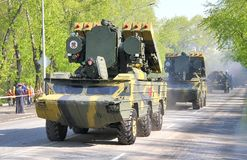 Victory parade 2012. YEKATERINBURG, RUSSIA - MAY 9: Mobile tactical surface-to-air missile system 9K33 Osa exhibited at the annual Victory day Parade on May 9 Stock Photos