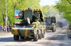 Victory parade 2012. YEKATERINBURG, RUSSIA - MAY 9: Mobile tactical surface-to-air missile system 9K33 Osa exhibited at the annual Victory day Parade on May 9 Stock Images