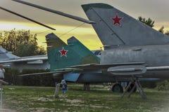 Victory Park, Kamyshin Vliegtuigen royalty-vrije stock afbeeldingen