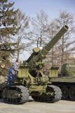 The Victory Park. Samples of military equipment of the great Patriotic war royalty free stock photography