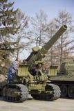 Victory Park Steekproeven van militaire uitrusting van de grote Patriottische oorlog royalty-vrije stock fotografie