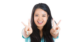 Victory or peace sign Stock Photos