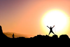 Victory at the peak of happiness.  Stock Photography