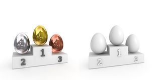 Victory Podium - Eggs Of Metal And White Royalty Free Stock Image
