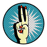 Victory Popart Symbol. HAnds care. Manicure Royalty Free Stock Photography