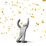 Victory Pose Person With Gold konfettier Stock Illustrationer