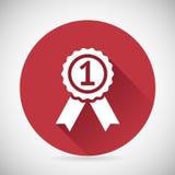 Victory Prize Award Symbol Badge mit Bändern Stockfotografie