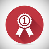 Victory Prize Award Symbol Badge With Ribbons Stock Photography