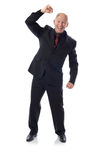 Victory punch. Man in suit victory punch isolat on white Royalty Free Stock Photos