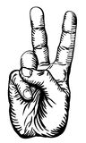 Victory salute or peace sign. A black and white illustration of the human hand giving the victory salute or peace sign Stock Photos