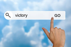 Victory on search toolbar Stock Photos