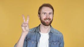 Victory Sign av rödhårig manmannen, gul bakgrund stock video