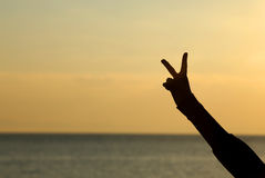 Victory sign with finger Stock Image