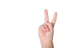 Victory sign isolated on white Royalty Free Stock Photo