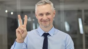 Victory Sign by Positive Grey Hair Businessman stock video