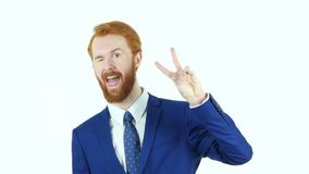 Victory Sign by Red Hair Beard Businessman, White Background