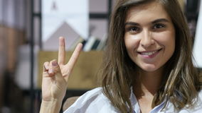Victory Sign by Smiling Lovely Girl,  Portrait stock video