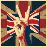 Victory sign with UK flag. The Victory sign with UK flag background,  illustration Royalty Free Stock Image