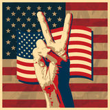 The Victory sign with USA flag background. Royalty Free Stock Images