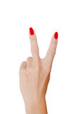 Victory sign. Woman's hand Stock Images