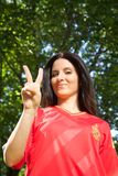Victory spanish football supporter Royalty Free Stock Photo