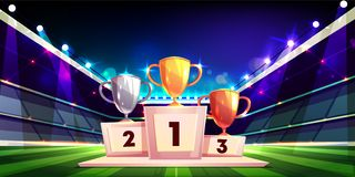 Sport cup trophies on pedestal cartoon vector. Victory in sports competition cartoon vector concept with golden, silver and bronze cup trophies standing on vector illustration