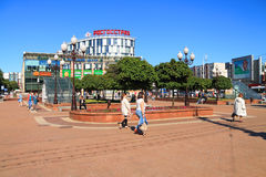 Victory Square in the center of Kaliningrad in the sunny summer day Royalty Free Stock Photo