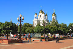 Victory Square in the center of Kaliningrad in the sunny summer day Stock Image