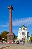 Victory Square. Kaliningrad (until 1946 Koenigsberg), Russia. Triumphal column in the Victory square and the Cathedral of Christ the Savior - the sights of royalty free stock photos