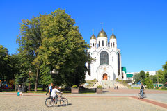 Victory Square in Kaliningrad in the sunny summer day Stock Images