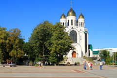 Victory Square in Kaliningrad in the sunny summer day Stock Image