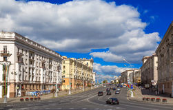 Victory Square Minsk, Vitryssland, royaltyfria bilder