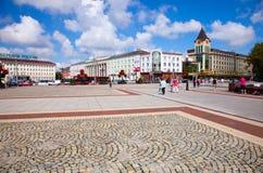 Victory Square no Kaliningrad, Rússia foto de stock