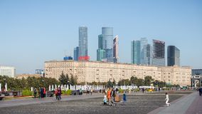 Victory square park beside Triumphal arch Royalty Free Stock Photo