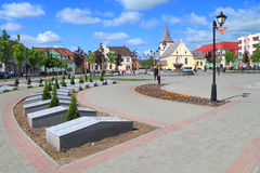 Victory Square in the sunny summer day in the city of Gvardeysk Stock Images