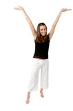 Victory Stand. Victory, success and happiness. This woman stands with her arms in V for victory or her whole body is the letter Y. She is a happy woman royalty free stock images