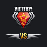 Victory, star and fire, lightning and wings, vs versus. Vector illustration Stock Image