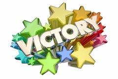 Victory Stars Winning Competition Winner Celebration. 3d Illustration Stock Photo