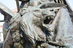 Victory statue, detail of the lion, in St. Mark's Square, Venice, Italy Royalty Free Stock Images