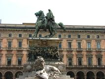 Victory statue at Piazza del Duomo, Milan, Italy, Stock Photo
