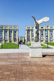 Victory statue of Samothrace in front of Thessalie square in Mon Royalty Free Stock Photo
