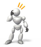 Victory of strategy. HUMANOID ROBOT represents the Victory of strategy. This is a computer generated image,on white background Royalty Free Stock Photos