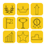 Victory and success. Linear flat icons on colored substrate. Vector Stock Image
